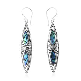 Royal Bali Collection Abalone Shell (Mrq) Navette Hook Earrings in Sterling Silver, Silver wt 3.50 G