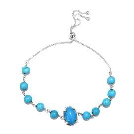 Blue Howlite (Ovl 14x10mm) Adjustable Bracelet (Size 6.5-9.5mm) in Sterling Silver 17.00 Ct.