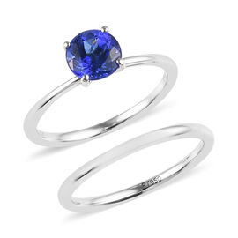 Set of 2- RHAPSODY 950 Platinum AAAA Tanzanite (Rnd) Ring 1.500 Ct.