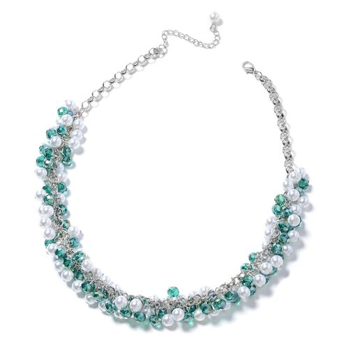 Simulated Pearl (Rnd), Simulated Apatite Beads Necklace (Size 20) in Silver Bond.