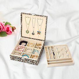 Two-Tier Brown Leopard Pattern Jewellery Box with Anti-Tarnish Lining