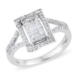 Diamond (Rnd) Ring in Platinum Overlay Sterling Silver 0.500 Ct