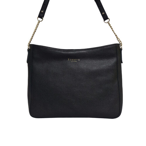 Assots London LOUISA - 100% Genuine Leather Handbag with Shoulder Strap (30x7x24cm) - Black