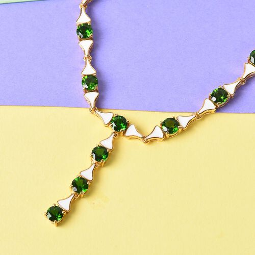 GP - Russian Diopside and Blue Sapphire Enamelled Necklace (Size 18) in 14K Gold Overlay Sterling Silver 13.02 Ct, Silver wt 21.00 Gms