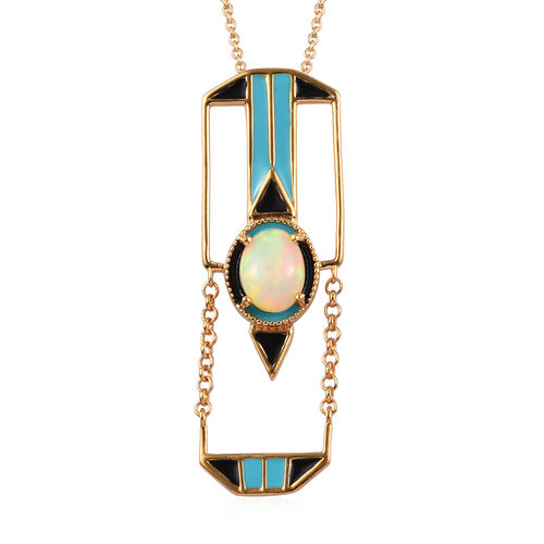 GP Ethiopian Welo Opal and Blue Sapphire Enamelled Pendant with Chain (Size 20) in 14K Gold Overlay