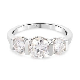 Moissanite 3 Stone Ring in Platinum Overlay Sterling Silver 1.750 Ct.