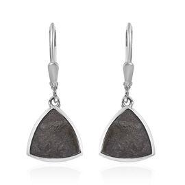 Meteorite (Trl) Drop Lever Back Earrings in Platinum Overlay Sterling Silver 14.00 Ct.