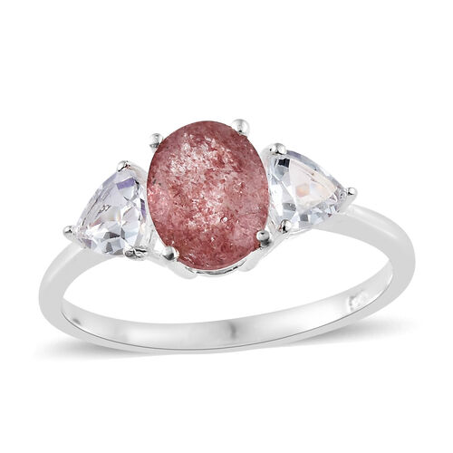 Pink Lapido Natural Quartz (Ovl 1.75 Ct), White Topaz 3 Stone Ring in Sterling Silver 2.750 Ct.
