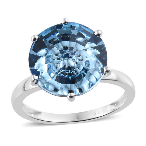 J Francis Aquamarine Colour Crystal from Swarovski Solitaire Ring in Sterling Silver