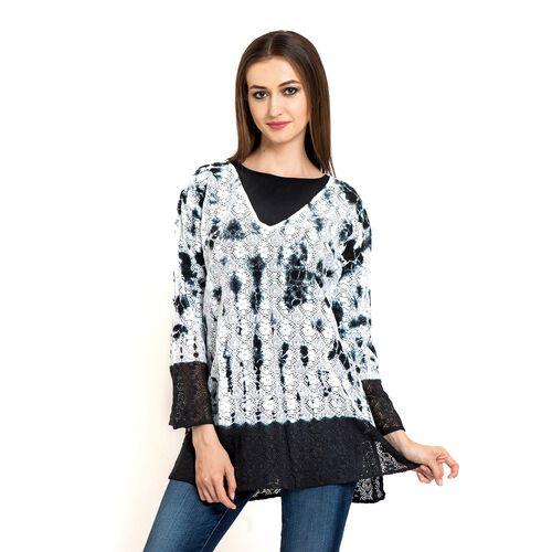 100% Cotton Laser Cut Floral Pattern White and Black Colour Ombre Effects Poncho (Size 70x50 Cm)