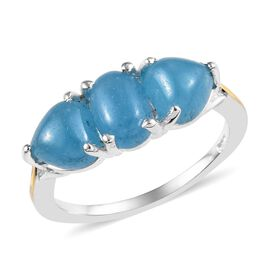 Blue Jade (Ovl and Hrt) Ring in Platinum and Yellow Gold Overlay Sterling Silver 3.00 Ct.