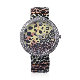 STRADA Japanese Movement Leopard Pattern Water Resistance White Austrian Crystal Studded Bracelet Wa