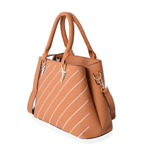 Mustard Colour Stripe Pattern Tote Bag with External Zipper Pocket and Removable Shoulder Strap (Size 30x21.5x11.5 Cm)
