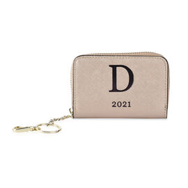 Genuine Leather Alphabet D Wallet with Engraved Message on Back Side (Size 11X7.5X2.5 Cm) - Gold
