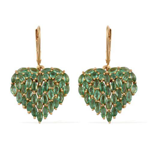 Designer Inspired Kagem Zambian Emerald (Mrq) Heart Lever Back Earrings in 14K Gold Overlay Sterling Silver 5.000 Ct. Silver wt. 5.50 Gms.