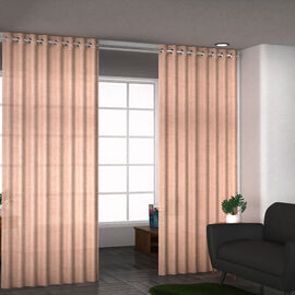Set of 2 - Cotton Textured Slub Curtain with Eyelets (Size 140x228cm) - Baby Pink