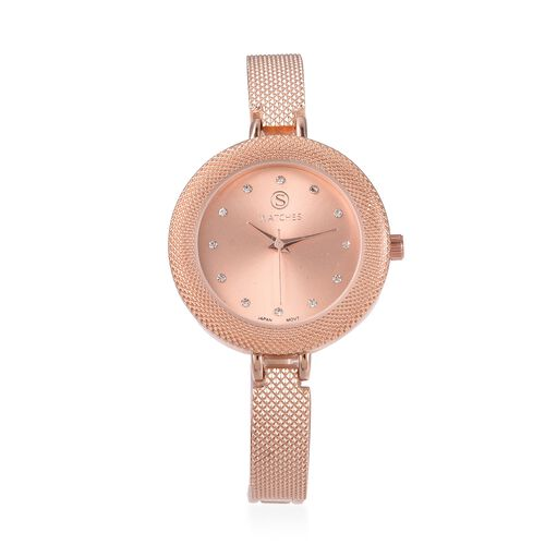 2 Piece Set- STRADA Japanese Movement Simulated White Diamond and White Austrian Crystal Studded Water Resistant Watch and Bracelet (Size 8) in Rose Gold Tone