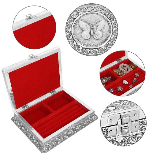 3D Embossed Collection Handcrafted Butterfly Oxidised Jewellery Box (Size 23x17.7 Cm) with Bright Red Velvet Interior