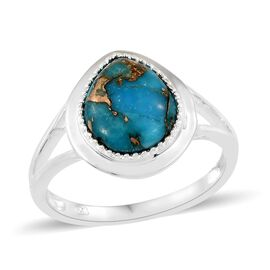 Mojave Blue Turquoise (Pear) Ring in Sterling Silver 4.500 Ct, Silver wt 3.25 Gms