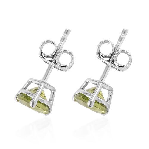 9K White Gold AA Hebei Peridot Stud Earrings (with Push Back) 1.60 Ct.
