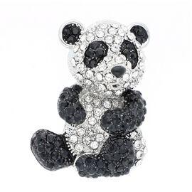 Black and White Austrian Crystal (Rnd) Panda Brooch in Silver Tone