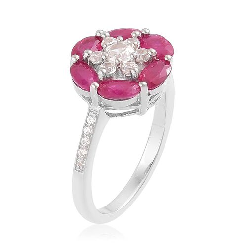 Burmese Ruby (Ovl), Natural Cambodian Zircon Flower Ring in Platinum Overlay Sterling Silver 2.50 Ct.