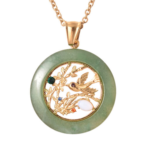 Green Aventurine, Opalite and Multi Colour Austrian Crystal Bird Circle Pendant with Chain ( Size 20