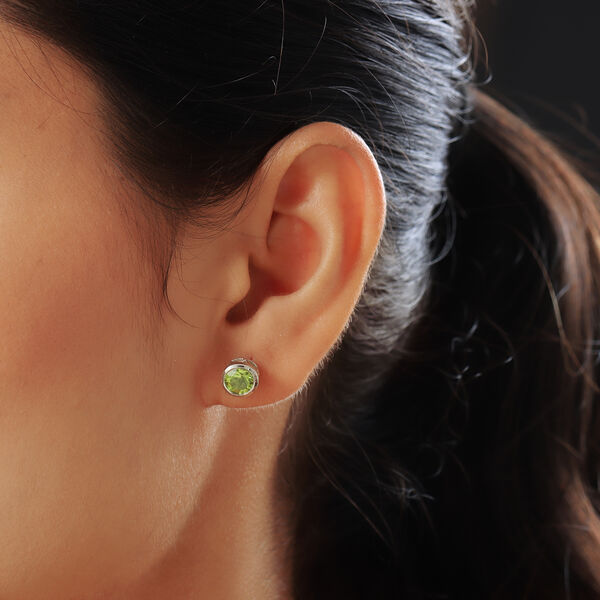 Natural Hebei Peridot Stud Earrings (with Push Back) in Platinum Overlay Sterling Silver 1.81 Ct.