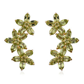 Hebei Peridot (Ovl) Floral Earrings (with Push Back) in Yellow Gold Overlay Sterling Silver 7.320 Ct, Silver wt 6.10 Gms.