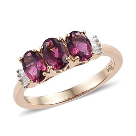 ILIANA 18K Yellow Gold AAA Ouro Fino Rubelite (Ovl), (SI/G-H) Diamond Ring 1.250 Ct.
