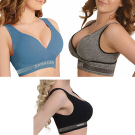 3 Piece Set - SANKOM SWITZERLAND Patent Leisure Bra Including (Light Jean, Grey Melange, Black and Silver