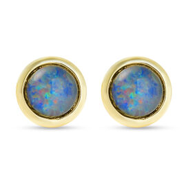 Australian Boulder Opal Stud Earrings (with Push Back) in Yellow Gold Overlay Sterling Silver