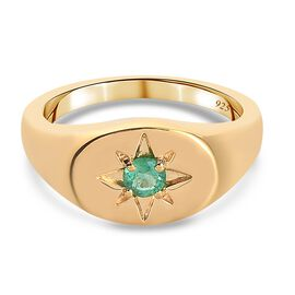 Emerald Ring in 14K Gold Overlay Sterling Silver 0.25 ct,  Sliver Wt. 5.46 Gms  0.250  Ct.