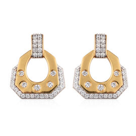 Natural Cambodian Zircon Earrings (with Push Back) in 14K Gold Overlay Sterling Silver 1.80 Ct.