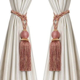 Pair of Lilac and Golden Colour Tassel Curtain Tiebacks (Size 66 to 68.5 Cm)