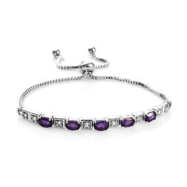 2.50 Ct Amethyst and White Topaz Adjustable Bracelet in Stainless Steel 6 to 8.5 Inch