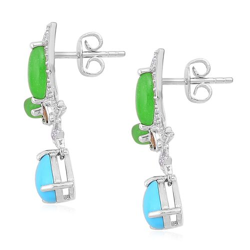Arizona Sleeping Beauty Turquoise (Pear), Green Jade, Citrine and Natural White Cambodian Zircon Butterfly Earrings (with Push Back) in Rhodium Plated Sterling Silver 4.130 Ct.