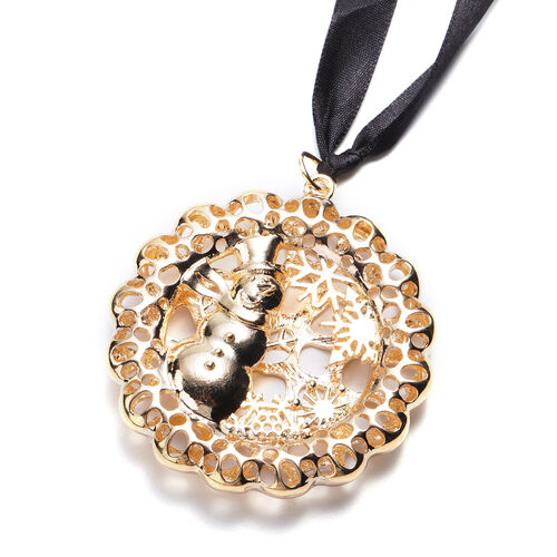 RACHEL GALLEY Simulated Pearl Snowman Baubles Charm in Yellow Gold Tone