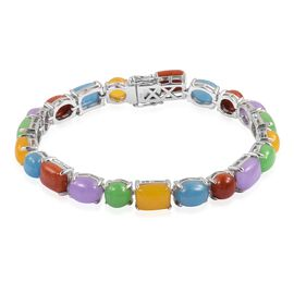 48.88 Ct Multi Colour Jade Tennis Style Bracelet in Rhodium Plated Silver 14.57 Grams 7.5 Inch