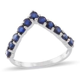 Kanchanaburi Blue Sapphire (Rnd) Wishbone Ring in Sterling Silver 1.750 Ct.