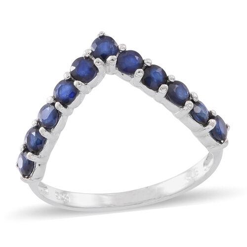 Kanchanaburi Blue Sapphire (Rnd) Wishbone Ring in Sterling Silver 1.750 Ct.
