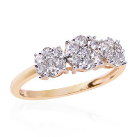 0.75 Ct Diamond Pressure Set Triple Floral Ring in 9K Yellow Gold SGL Certifed I3 GH