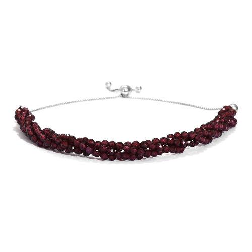 Rhodolite Garnet Beads Bolo Bracelet (Size 6.5-9.5 Adjustable) in Platinum Overlay Sterling Silver 2