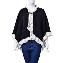 Designer Inspired-Black and White Colour Poncho (Size 100x50 Cm)