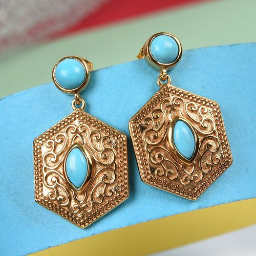 Arizona Sleeping Beauty Turquoise Dangle Earrings (with Push Back) in 14K Gold Overlay Sterling Silver 1.25  Ct.
