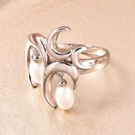 RACHEL GALLEY Snowdrop Collection - White Freshwater Pearl Ring in Rhodium Overlay Sterling Silver