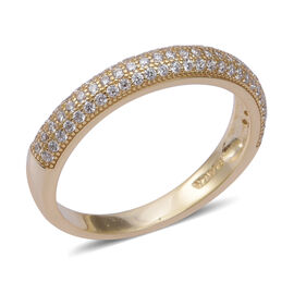 ELANZA Simulated Diamond Half Eternity Band Ring in Gold Plated Sterling Silver