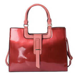 Wine Red Patent Satchel Bag with Adjustable Shoulder Strap (38x29x14.5x31cm)