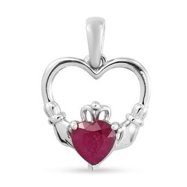 African Ruby (FF) Heart Pendant in Platinum Overlay Sterling Silver 1.76 Ct.