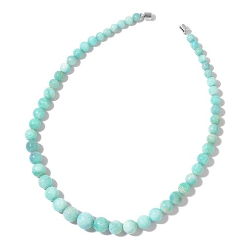 AAA Rare Size Russian Amazonite Beads Necklace (Size 20) with Magnetic Clasp in Rhodium Plated Sterl